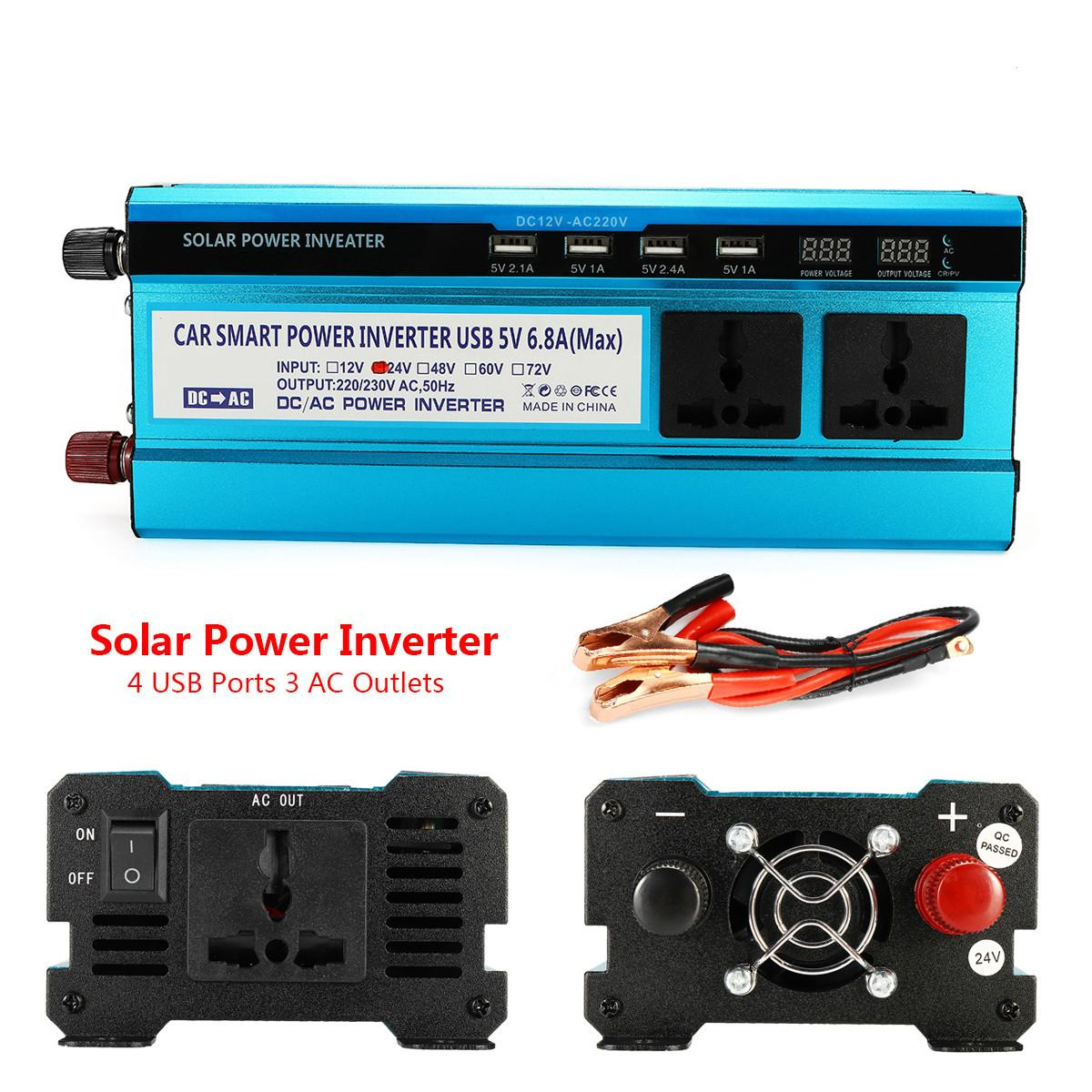 4000W DC 12/ 24V to AC 220V Portable Car Power Inverter Car LCD Solar Power Inverter Modified Sine Wave USB Charger Adapter