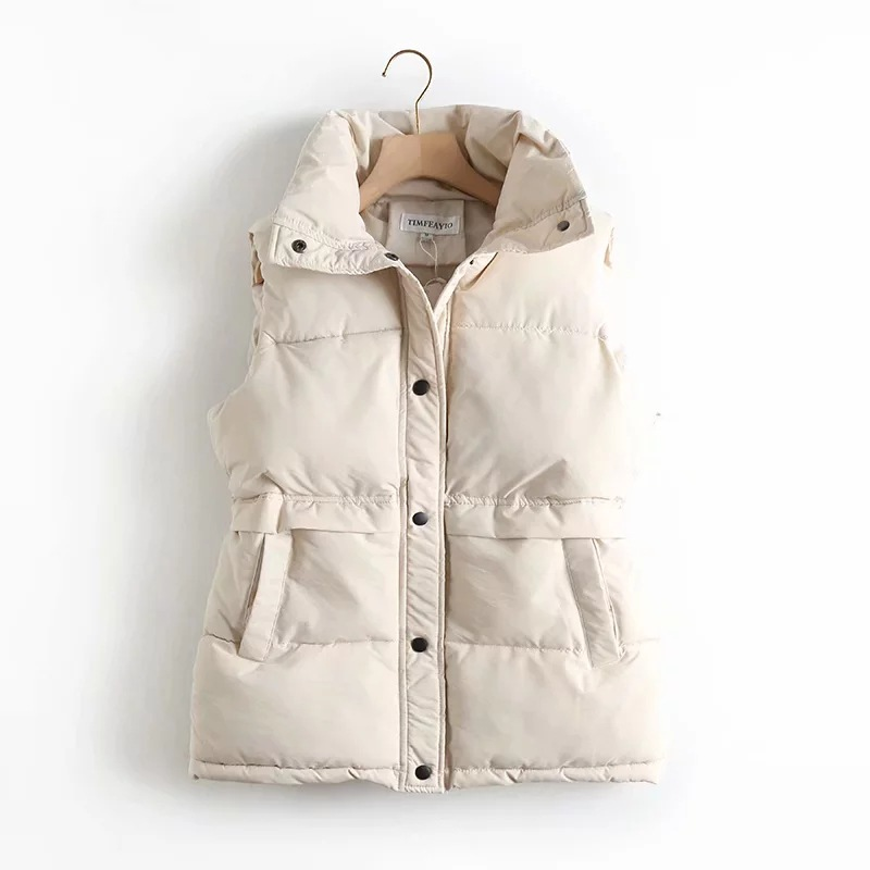 Autumn Winter Women's Solid Loose Vest Drawstring Stand Collar Long Vest Jacket  Cotton Padded Women's Windproof Warm Waistcoat