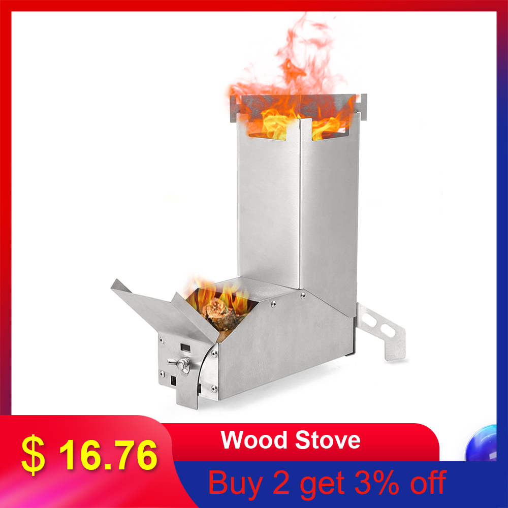Camping Stove Wood Stove Outdoor Collapsible Wood Burning Stainless Steel Rocket Stove Backpacking Camp Tent Stove