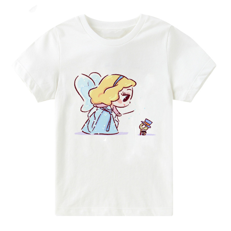 Children Snow White Alice Princess T shirt Girls Kawaii Mermaid and Elf Best Friend Print Cartoon Tops Summer ,bal107 image