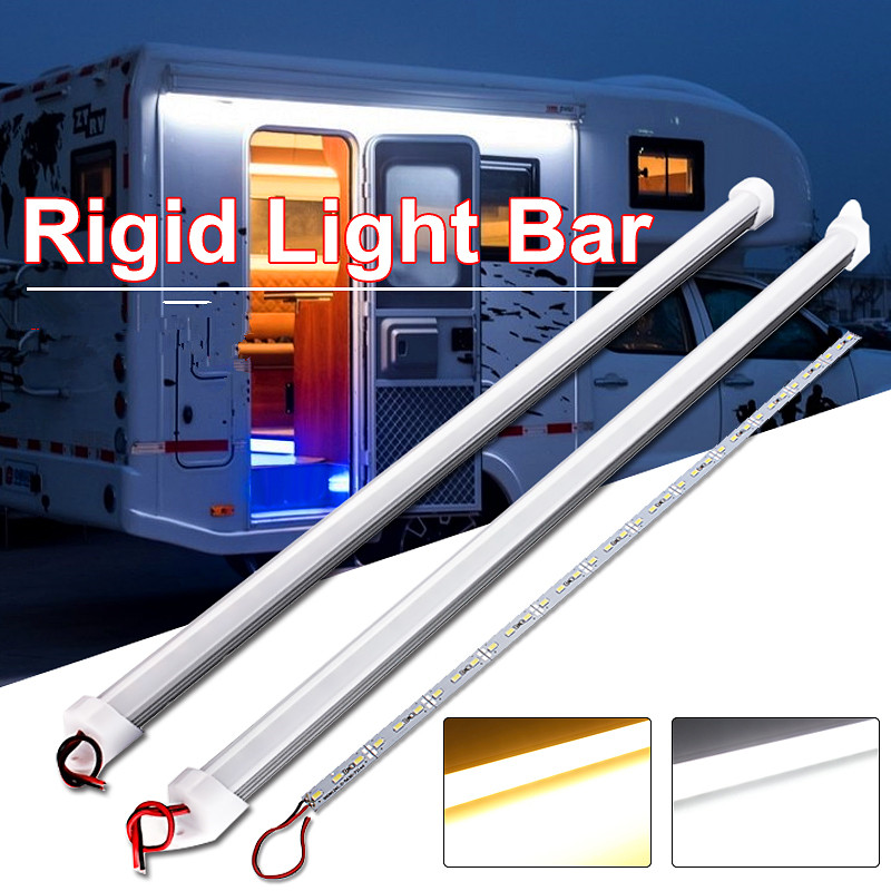 2PCS 9W 50cm LED Tubes 36 LED 5630 SMD Waterproof Hard Rigid Strip Cabinet Bar Light Pure White Warm White With Cover DC12V