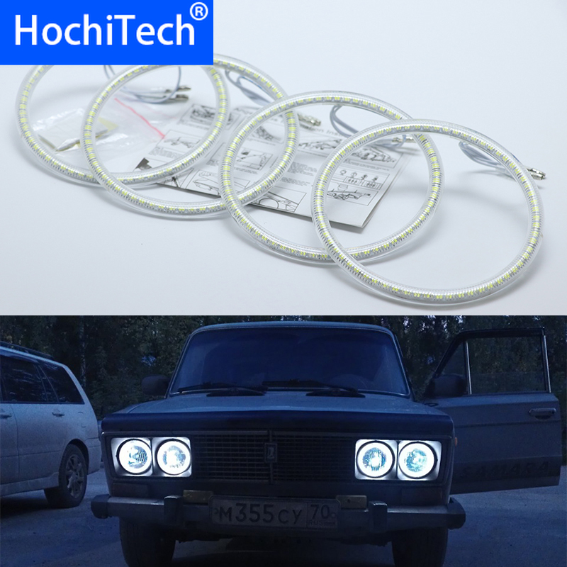 Ultra bright SMD white LED angel eyes halo ring kit daytime running light DRL For Lada Vaz <font><b>2106</b></font> 1976 1997 1998 1999 2000 2001 image