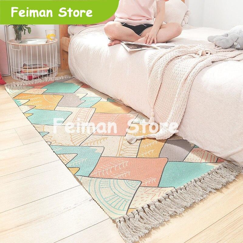 60x180cm nordique coton tissé tapis glands chambre tapis couvre-lit tapis Simple moderne Table Ruuners cuisine tapis décoration de la maison
