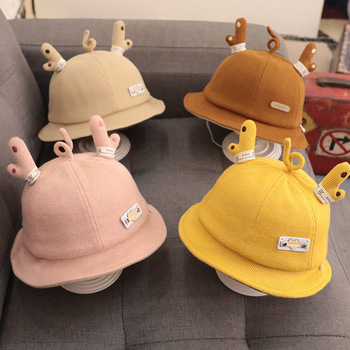 CANIS Infant Baby Winter Bucket Hat Cute Wide Brim UV Protection Fisherman Hat with Deer Antlers canis xl