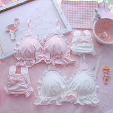 Japanese girl heart soft cute rabbit ears no rim underwear set loli student cute soft sister Lolita triangle cup bra set