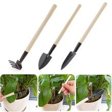 Mini Shovel Rake Set Wooden Handle Metal Head Shovel for Flowers Potted Plants Mini Garden Tool Seed Disseminators 3pcs/set