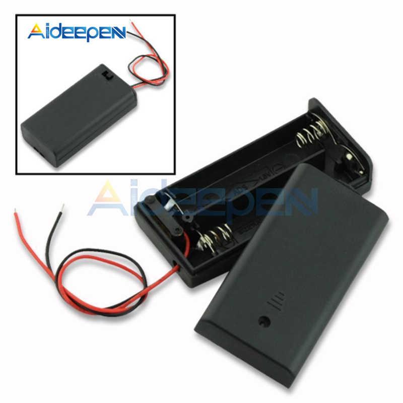 2 x bateria AA czarny uchwyt z tworzywa sztucznego złącze pudełko do przechowywania z przycisk ON/OFF przycisk przełącznik z przewód zasilający kabel