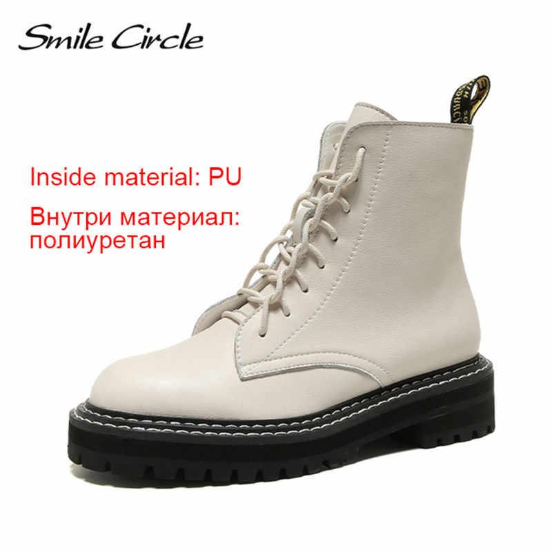 Sourire cercle bottines femmes en cuir véritable mode style britannique plate-forme chaussures femmes hiver fourrure bottes chaudes dames chaussons