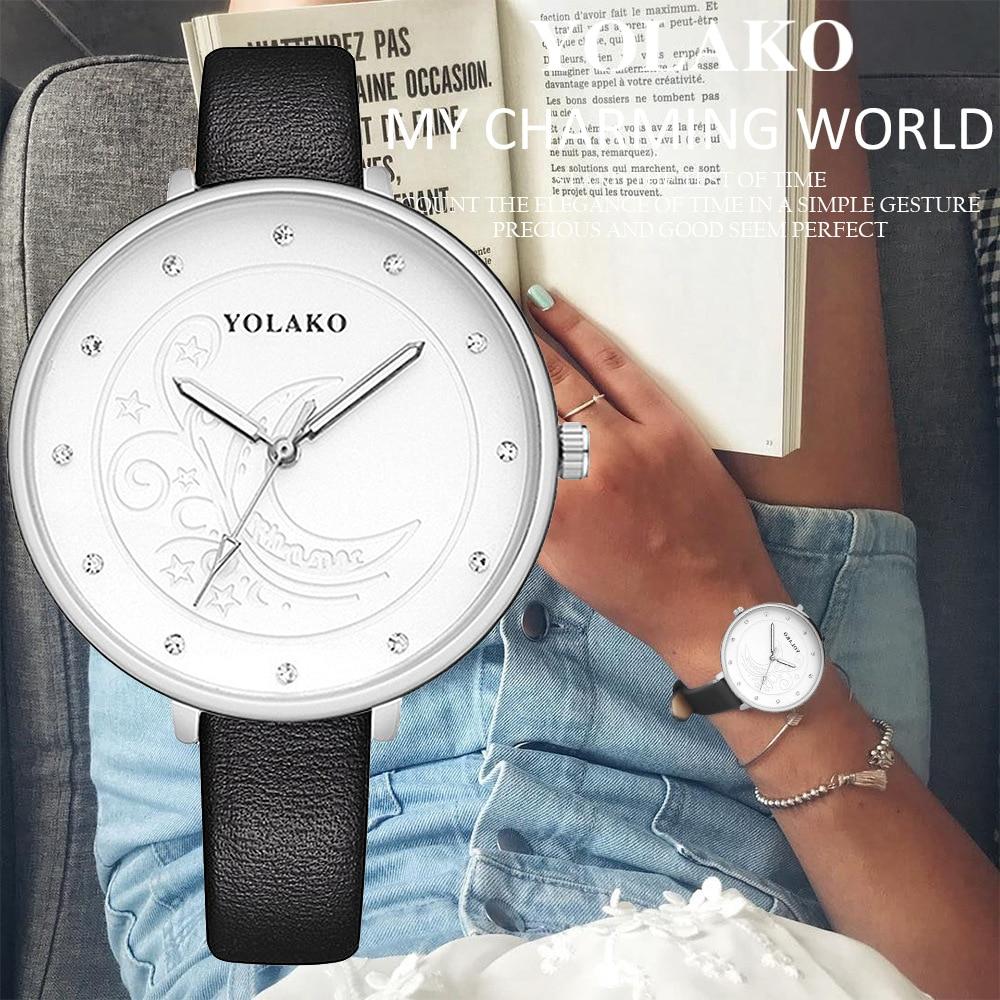 WJ 8688 Ladies Sliver Big Dial Watch Fashion Rhinestone Women Watches Casual Leather Strap Quartz Wristwatch