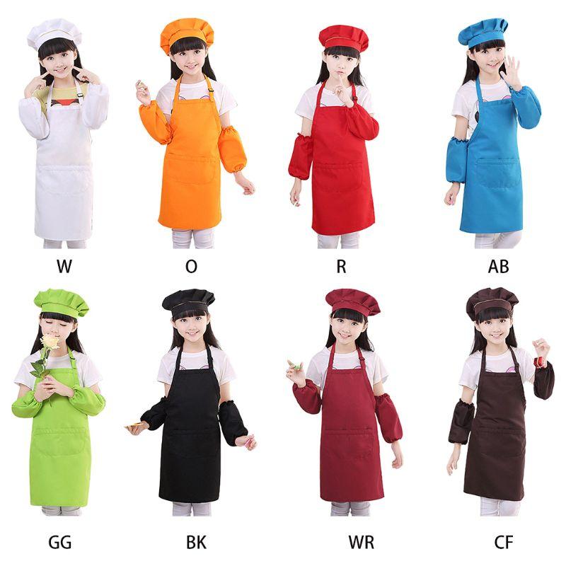 3Pcs/Set Kids Chef Hat Apron Sleeve Covers Set Boys Girls Adjustable Kitchen Bib With 2 Large Pockets For Cooking Baking Wear
