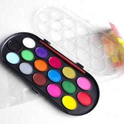 16 cores sólida profissional aquarela tintas caixa de pintura com pincel cor brilhante portátil esboço cor arte ferramenta fonte
