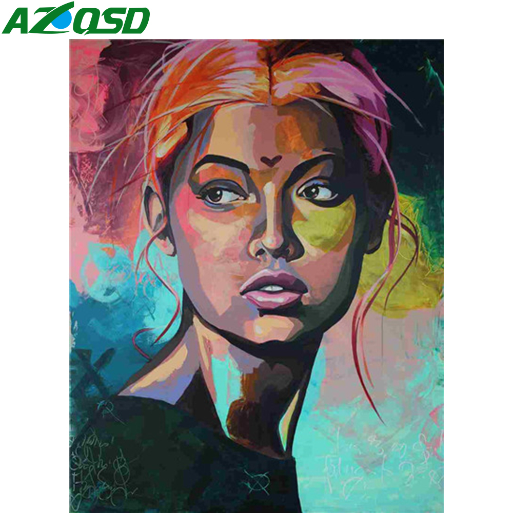 AZQSD Oil Painting By Numbers African Women Paintings DIY Portrait Paint By Number Canvas Painting Kits 40x50cm No Frame