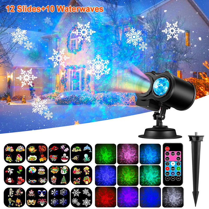 12 Patterns LED Disco Light Laser Projector Christmas Lights Outdoor Garden Party Lights Landscape Lamp Halloween Decorations