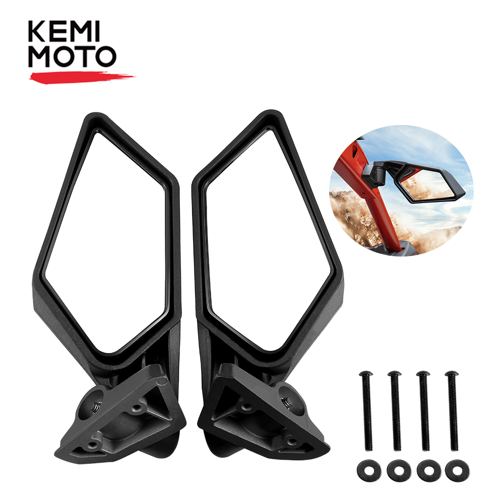 KEMiMOTO UTV Side View Mirrors Rearview Mirror Adjustable for Can Am Maverick X3 Max R X3 R  For Suzuki King Quad 450 Quadracer