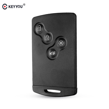 KEYYOU Original Key Shell 4 Buttons For Renault Laguna Koleos Megane Fob Remote Smart Card Key Case WIth Insert Small Key Blade