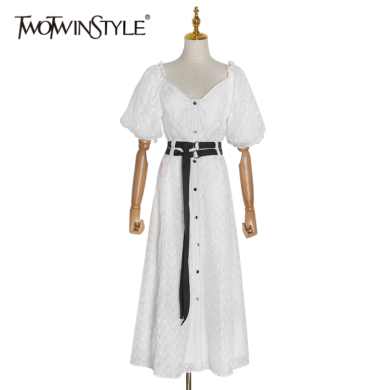 TWOTWINSTYLE Elegant Polka Dot Women's Dress Square Collar Puff Short Sleeve High Waist With Sashes Dresses Female 2020 Clothing