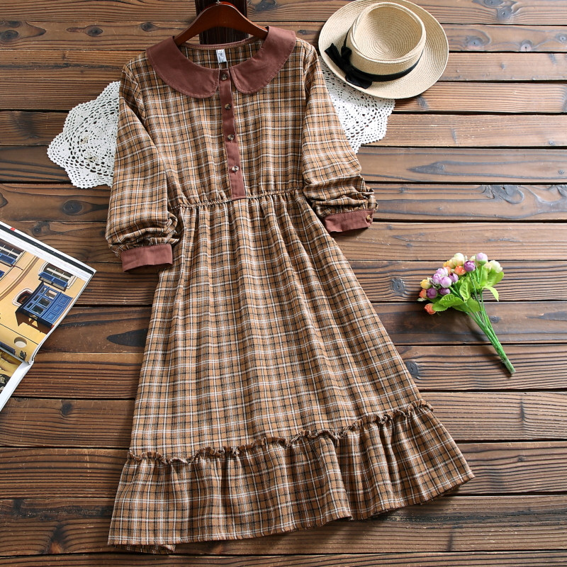 Mori Girl Cute Kawaii Fashion Plaid Dress Autumn Style Peter Pan Collar Long Sleeve Casual Dress For Lady