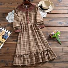 Милое модное клетчатое платье Mori girl, Осеннее Повседневное платье в стиле Питер Пэн с воротником и длинным рукавом для женщин