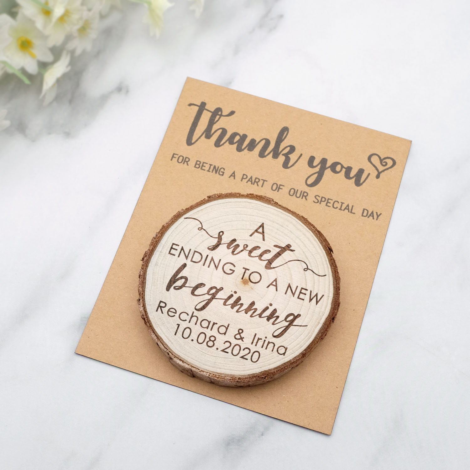 Personalized Wood Slice Magnet With