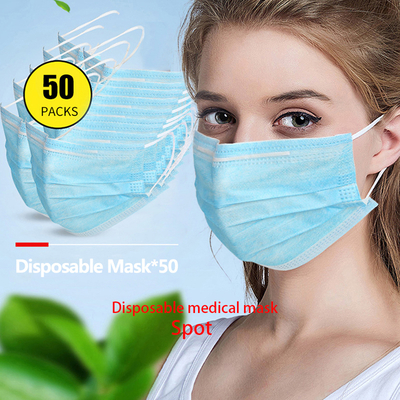 Spot COVID-19 Worry-free Shipping 50pcs 3 Ply Non Woven Disposable Face Mask Anti Pollution Mouth Mask For Adult