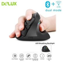 цена на Delux M618 Mini Bluetooth + Usb Wireless Dual Mode Vertical Ergonomic Computer Mouse Rechargeable Optical Silent RGB 3d PC Mause