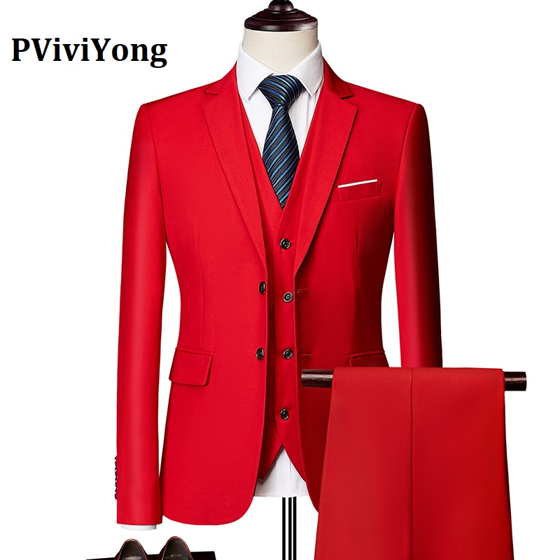 PViviYong Brand 2019 High Quality Suit Men,wedding Dinner Party Interview Suit Three-piece (Jackets + Vest + Pants) 533