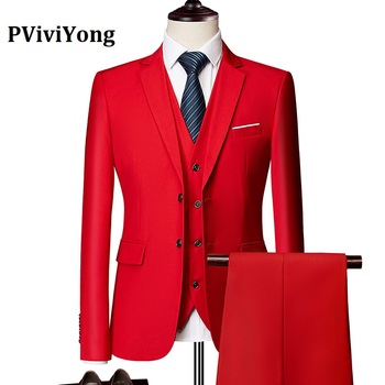 PViviYong brand 2019 high quality suit men,wedding Dinner party interview Three-piece (Jackets + Vest Pants) 533