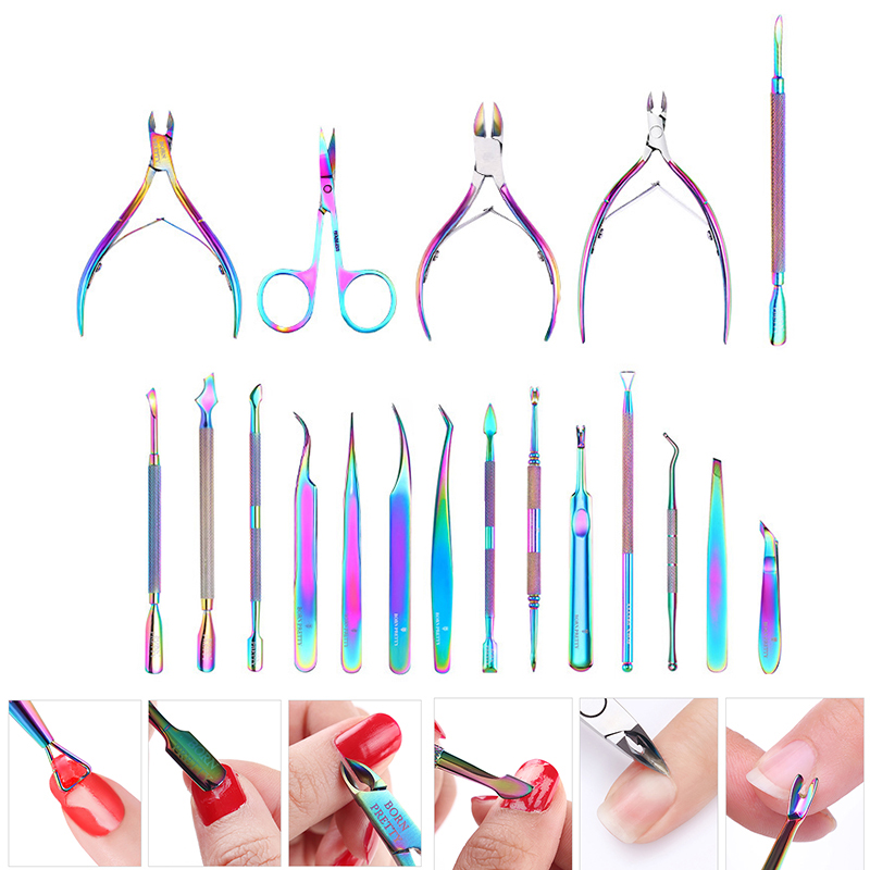 BORN PRETTY Nail Nipper Cutters Stainless Steel Nail Clipper Rainbow Tweezer Clipper Dead Skin Remover Edge Cutter Nail Tool