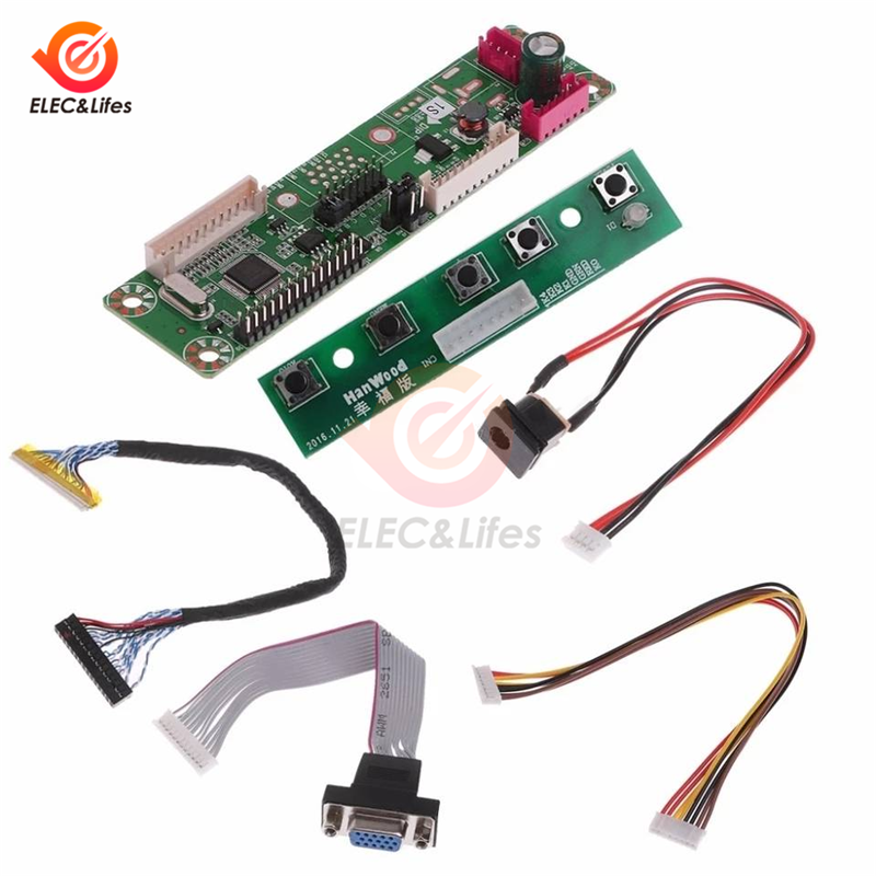 1Set 1 Channel VGA Video MT6820 MT6820-MD HX6820-A HX6820 V2.0 Universal Driver Board Module + LVDS Screen Cable LCD Display FHD