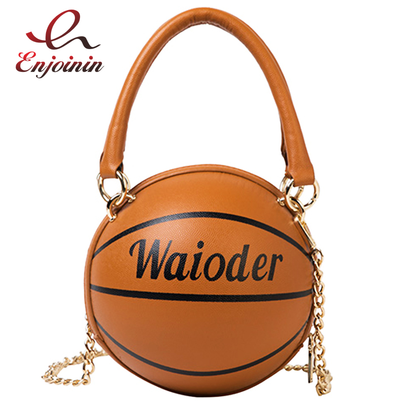 Basketball Shaped Shoulder Messenger Handbags Purse Tote Cross Body PU Bag Adjustable Strap For Women Girls Fashion Chain Totes