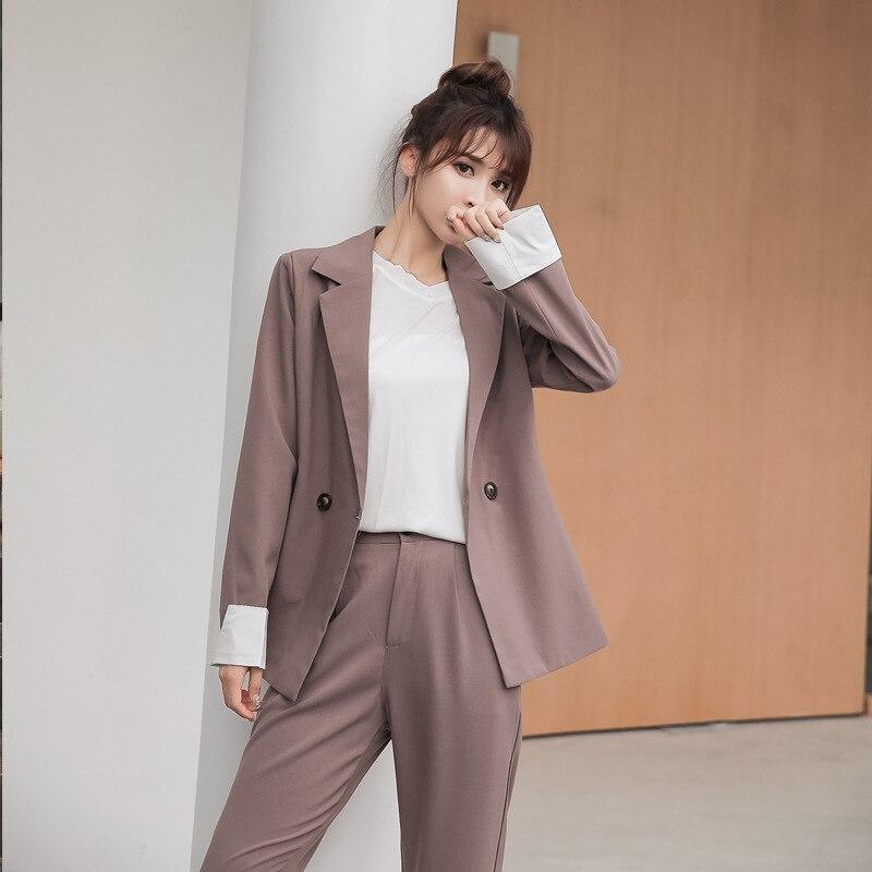 2019 New Autumn Casual Ladies Suit Pants Two-piece Korean Fashion Loose Gray Jacket Female Elegant Trousers For Women