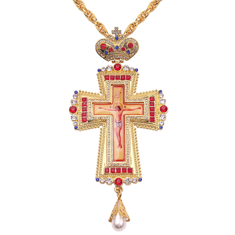 Gold Pectoral Cross Christian Church Colden Priest Crucifix Orthodox Baptism Gift Religious Icons