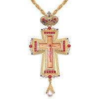 الذهب الصدرية الصليب الكنيسة المسيحية كولدن الكاهن الصليب الأرثوذكسية المعمودية هدية الرموز الدينية