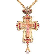 Gold Pectoral Cross Christian Church Colden Priest Crucifix Orthodox Baptismของขวัญทางศาสนาไอคอน