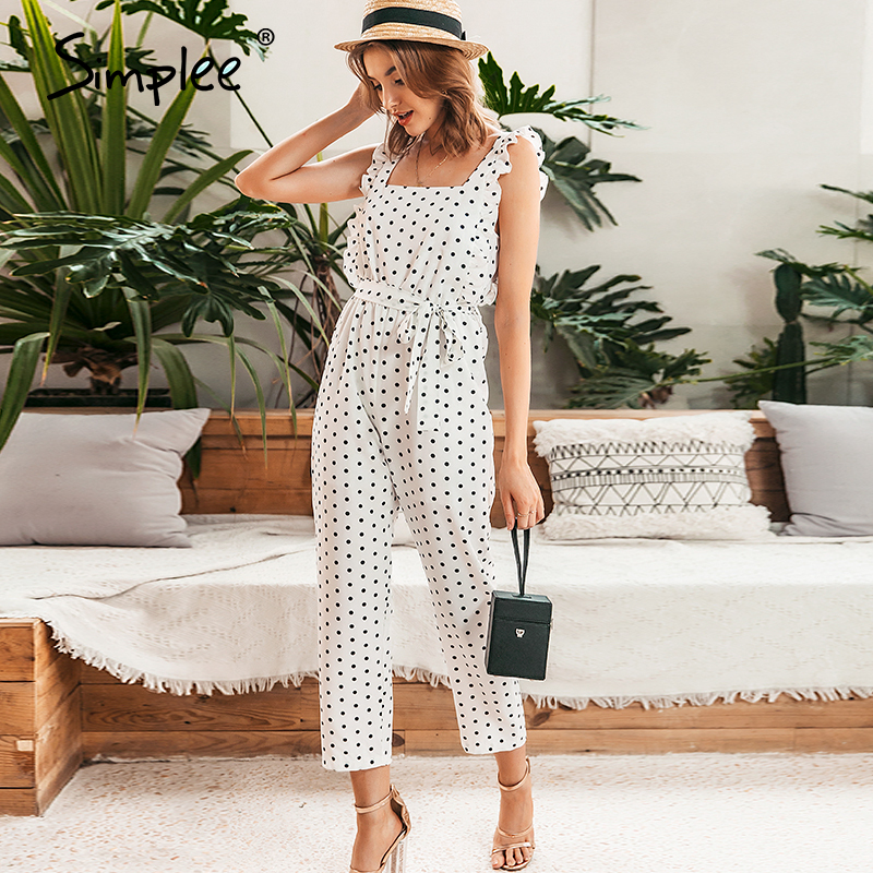 Simplee Elegant Polka Dot Ruffles Women Jumpsuits Sleeveless Beach White Playsuit Rompers Casual Sexy Female Romper Summer 2020