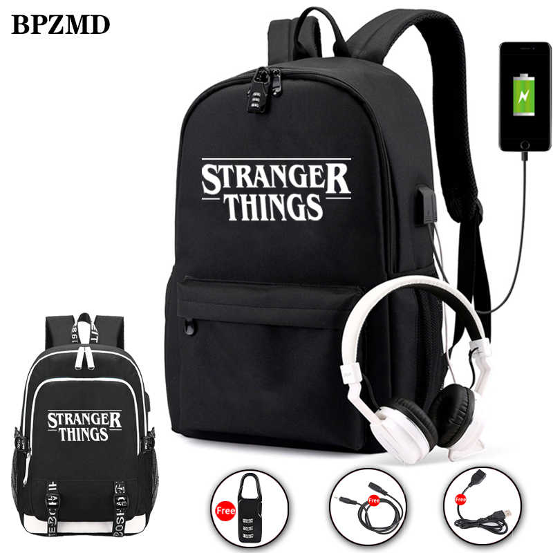 BPZMD Luminous Bag Multifunction USB Charging Stranger Things Travel Canvas Student Backpack For Teenagers Boys Girls School Bag