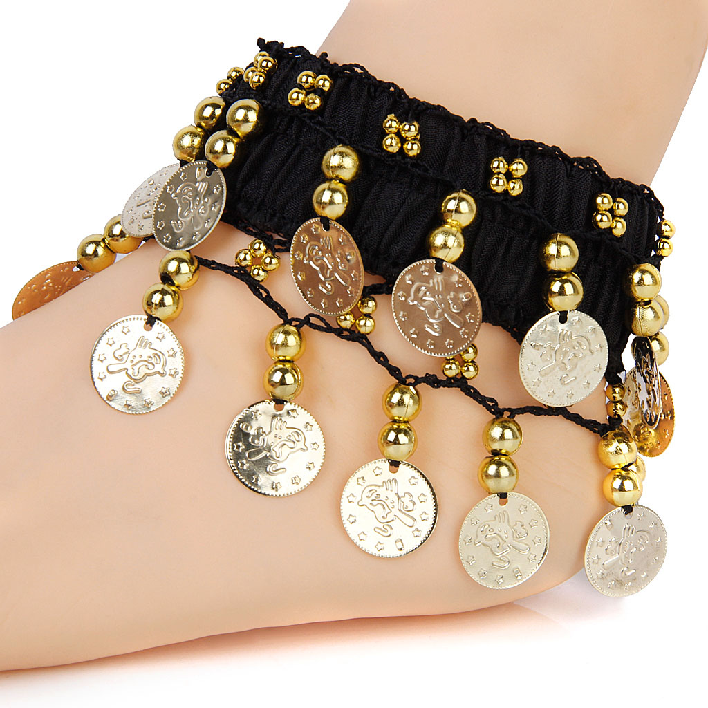 COINS ANKLET BRACELET INDIA BOLLYWOOD BELLY DANCE TRIBAL CHUNKY ARM CUFF
