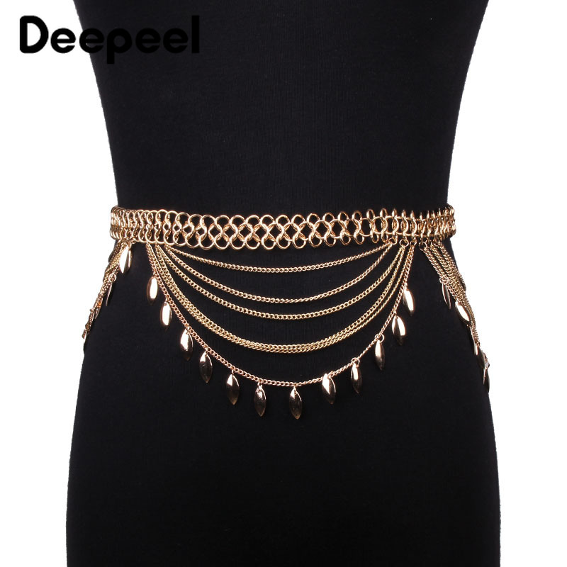 Deepeel 1pc11cm*80-100cm Women Metal Sequin Tassel Cummerbunds Sequins Pendant Leisure Wide Belt Adjustable Apparel Girdle CB632