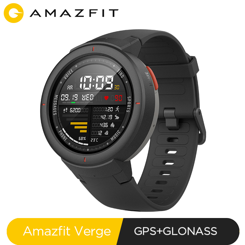 Versão global huami amazfit verge esporte smartwatch gps bluetooth music play chamada resposta mensagem inteligente empurrar monitor de freqüência cardíaca