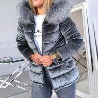 Frauen Baumwolle Gepolsterte Jacken Grau Rosa Plus Größe 4XL Kapuze Pelz Kragen Dicken Mode Grundlegende Schnee Oberbekleidung Winter Samt Jacke mantel      -