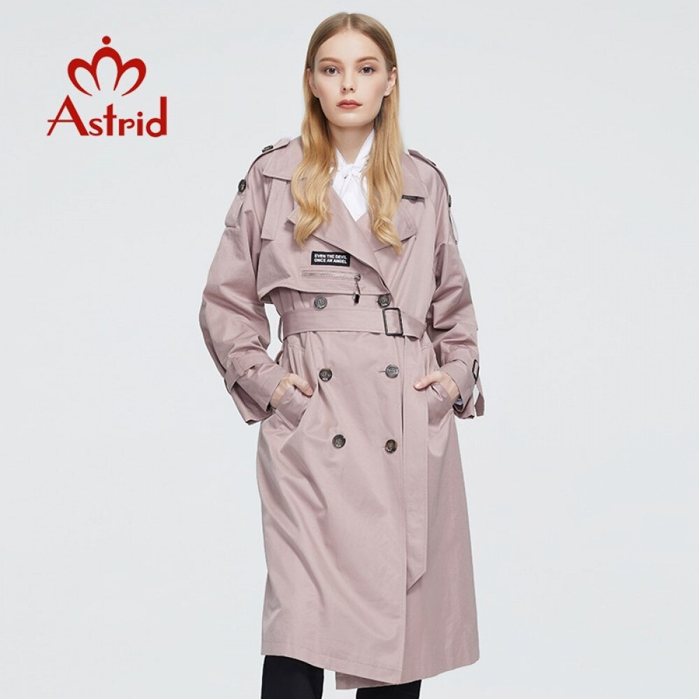 Astrid New Spring Autumn Trench Coat long Fashion Windproof  hood large size Outwear Windbreaker female clothing 7261