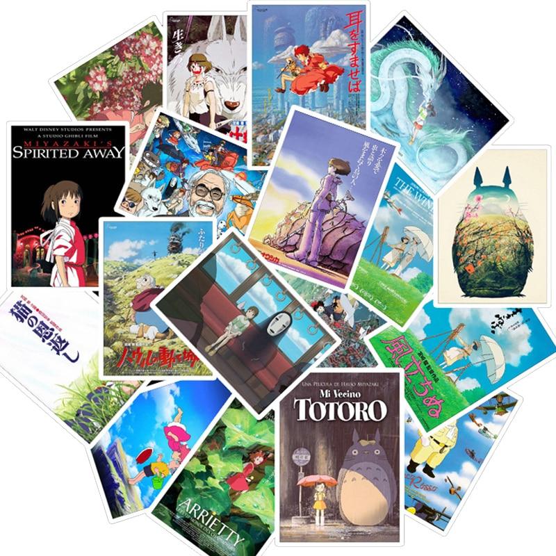 50 Hayao Miyazaki Anime Stickers for Laptop Suitcase Guitar Fridge Bicycle Car
