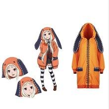 Anime Kakegurui Cosplay Costume Runa Yomotsuki Hoodie Women Coat Orange Jacket with Socks Custom Winter Cute Pajamas