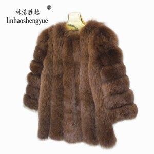 Image 5 - Linhaoshengyue Length70CM genuino di volpe cappotto di pelliccia, cappotto di pelliccia Naturale, reale della pelliccia di fox del cappotto, inverno delle donne