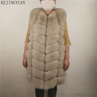 KEJINYUAN real Fur Fox long Vest natural raccoon Waistcoat silver fox jacket woman winter warm Natural sleeveless