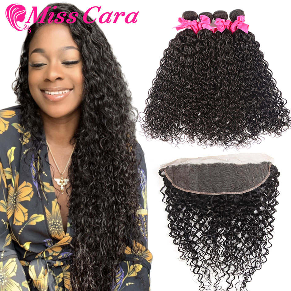 Peruvian Water Wave Bundles With Frontal Miss Cara Remy Human Hair 3 4 Bundles With Closure