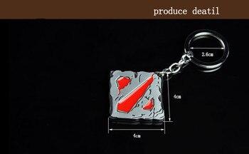 Metal Dota 2 Logo Keychain Online Game Dota2 Classical Square Pendant Keyring Car Key Chain Lover Couple Gift Key Holder 2