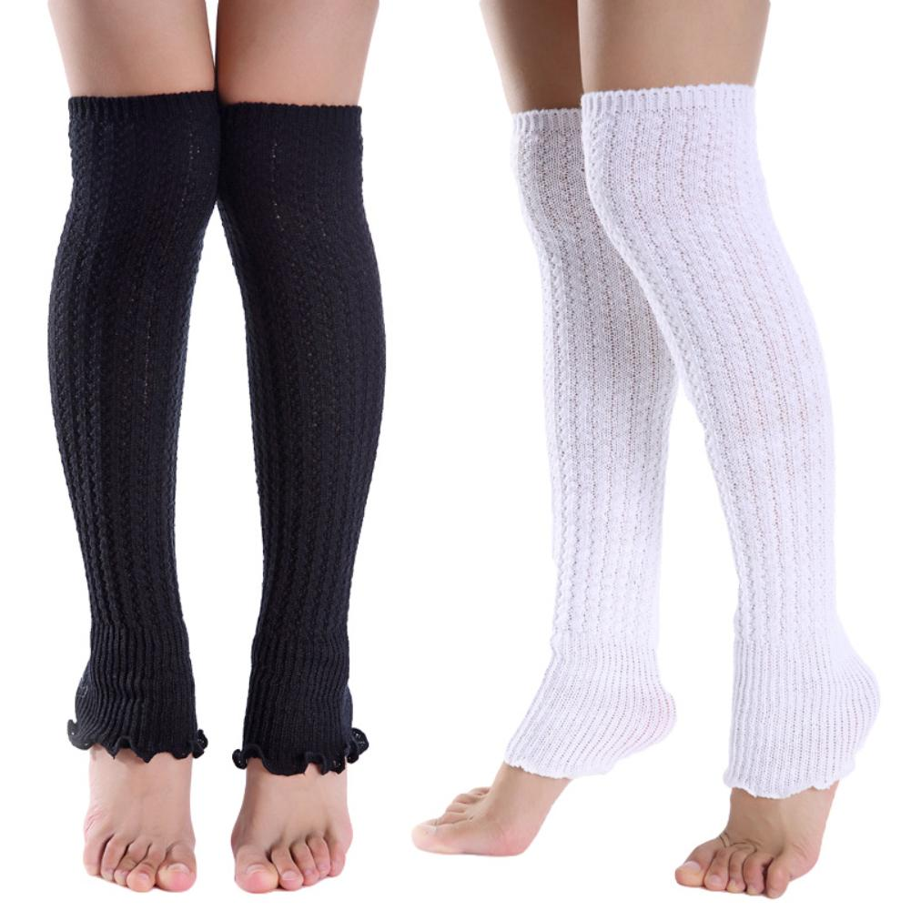 Fashion Women Solid Color Knee High Knitted Leg Warmers Pleated Long Socks Personalized comfortable Warm Outdoor Windproof|Leg Warmers|   - AliExpress