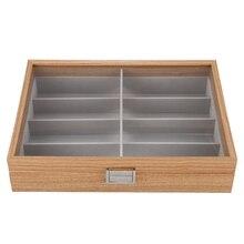 Коробка для хранения солнцезащитных очков, кожзам, Чехол для очков, органайзер для хранения, 8 слотов, черный