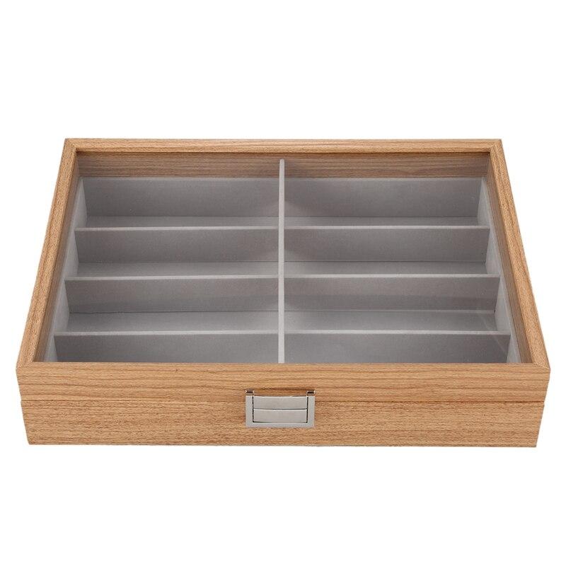 Eyeglass Sunglass Storage Box Imitation Leather Glasses Display Case Storage Organizer Collector 8 Slot Black